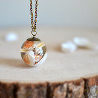 Seashell necklace resin sphere ball necklace, cone shell jewelry, beach wedding, gift for a woman, beach jewelry