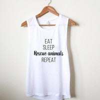 Eat Sleep Rescue Animals Repeat - Eco Muscle Tank