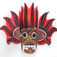 Sri Lanka traditional wall mask - Gini raksha kaduru wood, natural paint, hand wood carved