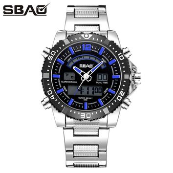 SBAO Double Display Wrist Top Brand Luxury Famous Sport Waterproof Mens Watch