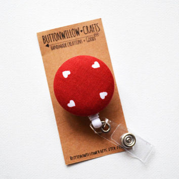 Fabric Button ID Badge Reel, Retractable Lanyard, Nurses, Birthday Gift, Key Card, Handmade Pretty Red Badge Reel, Hearts, Little Hearts