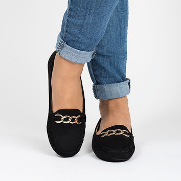 Faux Suede Loafers - Black