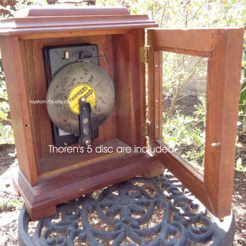 Vintage Thorens Music Box Disc Player in Custom Wood Carriage Clock Case