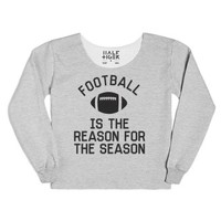 Football is the Reason For the Season-Female Heather Grey T-Shirt