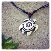 Handmade White Tribal Tortoise Necklace