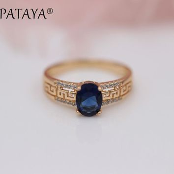 PATAYA New Arrivals 585 Rose Gold Hollow Ring Oval Dark Blue Natural Zircon Rings Women Wedding Party Exquisite Carving Jewelry