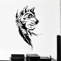 Vinyl Wall Decal Dream Catcher Dreamcatcher Wolf Indian Symbol Big Decor Unique Gift z4459