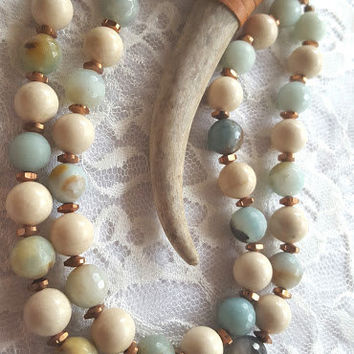 Naturally Shed Deer Antler Horn Necklace with Riverstone & Amazonite Beads | Tan Antler Beaded Necklace with Brass Metal