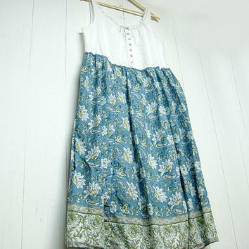 XL Romantic Cotton Dress, Sleeveles Smock Dress, Shabby Chic, Feminine, Altered, Upcycled Clothing