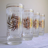 Vintage Highball Glasses / Frosted with Gold Tumblers / Vintage Barware / Mid Century Mad Man Style