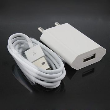 White EU Plug Wall Power Charger Adapter + USB Charging Cable For Apple Iphone 5 5s 5c 6 6s Plus 7 / 7 plus Ipad Air IOS 8 9 10