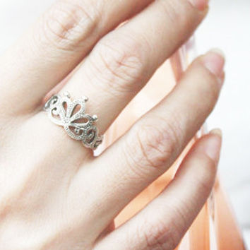 Queen Crown Silver Ring Sterling Ring .925 Silver Ring Personalized Ring