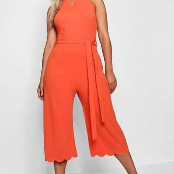 Plus Scallop Edge Wide Leg Jumpsuit | Boohoo