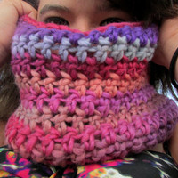Crochet Cowl, Neckwarmer, Multicolor Wool Cowl, Shades of Purple Circle Scarf
