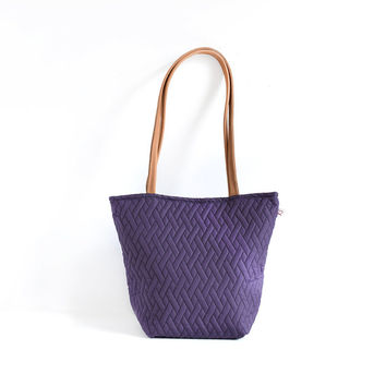 Purple quilted fabric tote bag with leather handles , Small purple women handbag , Purple  purse, Purple tote bag