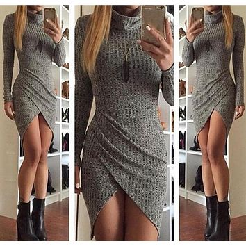 Fashion Simple Solid Color Turtleneck Long Sleeve Irregular Hem Mini Dress