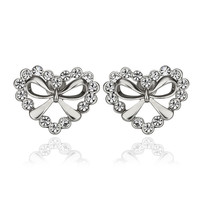 Bow With Heart White Gold Stud Earrings