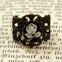 $17 Brass Rose Filigree Ring RagTraderVintage.com