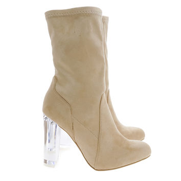 Blossom22 Natural Above Ankle Dress Booties w Clear See Through Acrylic Lucite Block Heel