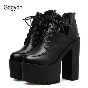 Gdgydh 2018 New Black Spring Boots Women Platform Lacing Thick Heels Leather Party Shoes Ultra High Heels Cut Out Fashion Boots
