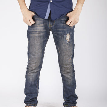 Men's Fashion Vintage Weathered Ripped Holes Stretch Slim Pants Jeans [6527212675]