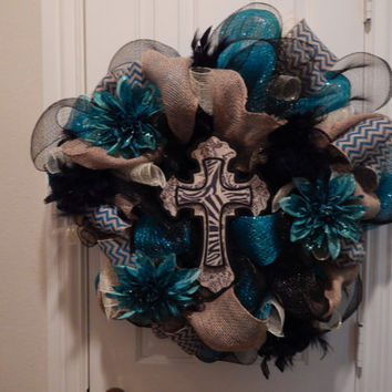 Teal Deco Mesh Wreath with Cross. by CrittermomsCreations on Etsy