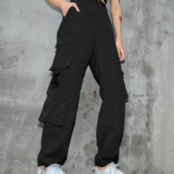 Explosion style street fashion women's multi-pocket narrowing casual pants women