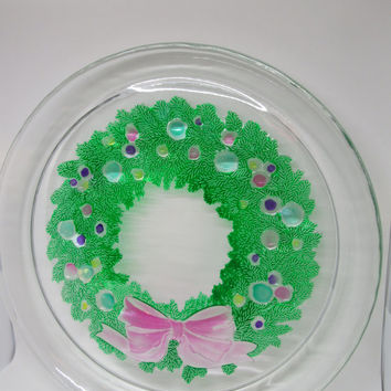 Round Clear Glass Hand Painted Cake Plate or Serving Platter Wreath and Pink Bow