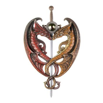 Dueling Dragons Sword Wall Plaque