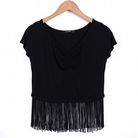 New Fashion Women Sexy Casual T Shirt Fringe Stitching V Neck Short Sleeve Solid Tops