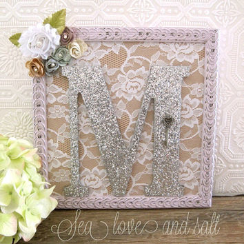 Large Letter M Purple Nursery Decor Baby Girl Nursery Framed Letters Shabby Chic Nursery Wall Art