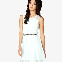 Lace-Paneled Georgette Dress
