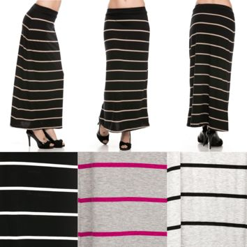 Multi-Colors Striped Foldover Waistband Full Length Jersey Maxi Long Skirt