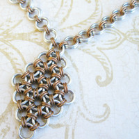 Handmade necklace with diamond pendant, japanese chainmaill design