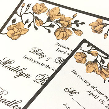"Floral Wedding Invitation, RSVP Card with Envelope ""Sweet Carolina"" Wedding Response Card Invite Deposit (Peach Roasted) ANY Color WE Print"