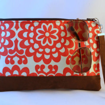 Orange, cream and suede clutch, faux leather accent bag, date night clutch, hand purse, zippered pouch, bridesmaid clutch.