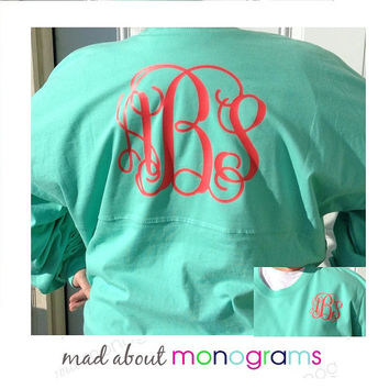 Monogrammed Spirit Prep Jersey Shirt - GLITTER Monogram available - by Mad About Monograms - 20 Shirt Colors - Pom Pom Pullover Spirit Crew
