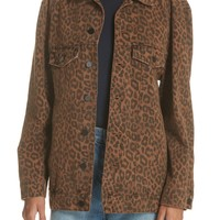 Denim x Alexander Wang Daze Leopard Print Denim Jacket | Nordstrom