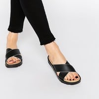 London Rebel Cross Strap Slide Flat Sandals at asos.com
