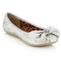 Girl's silver glitter bow pumps at debenhams.com