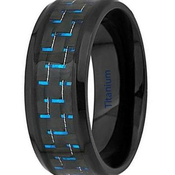 CERTIFIED 8mm Mens Titanium Ring Wedding Band Black and Blue Carbon Fiber inlay