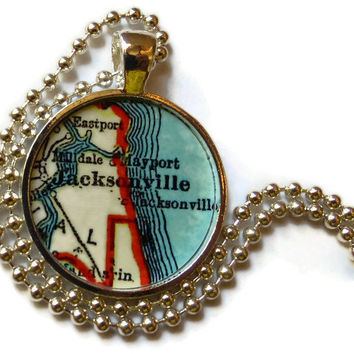 Jacksonville, Florida necklace pendant charm, map necklace, photo pendant