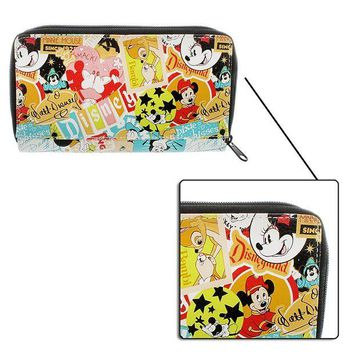 DCK4S2 Disney Parks Exclusive Mickey Classic Collage Pattern Zip Clutch Wallet