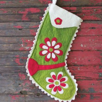 Felt Stocking - Green With Red & Ivory Flowers