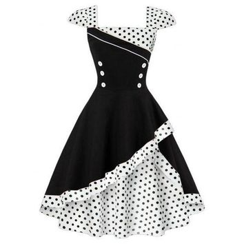 CREYM83 Women's Fashion High Waisted Polka Dot Double-layer Rockabilly Swing Dress