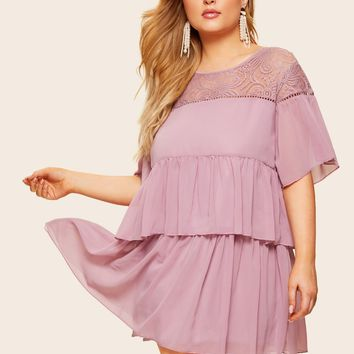 Plus Contrast Lace Tiered Layer Dress