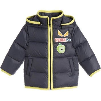 ONETOW Fendi Baby Boys Navy/Green Puffer Jacket
