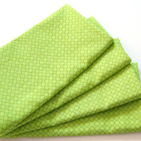 Cloth Napkins - Set of 4 - Bright Lime Green Small Circles - Dinner, Table, Everyday, Wedding