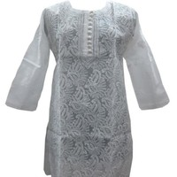 White Tunic Paisley Embroidered Indian Cotton Kurti