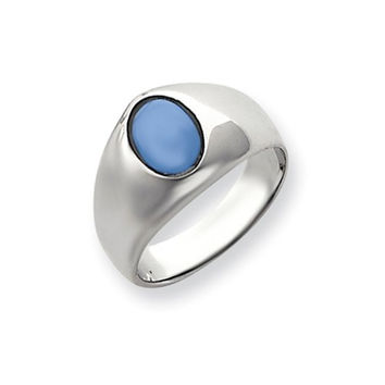 14k White Gold Mens Blue Onyx Ring